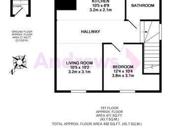 Thumbnail 1 bed flat to rent in First Floor Apartment Longmead, Abingdon, Oxfordshire