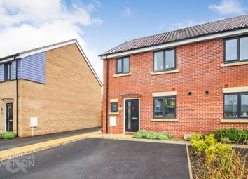 Thumbnail 3 bed semi-detached house for sale in Fieldfare Way, Queens Hill, Costessey, Norwich