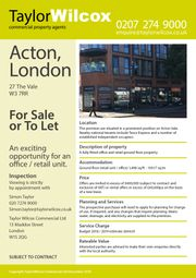 Retail premises for sale in The Vale, Acton, London W3