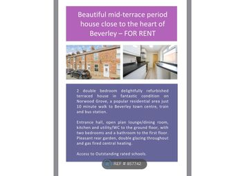 2 bed terraced house to rent in Norwood Grove, Beverley HU17