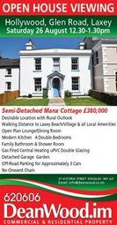 Thumbnail 4 bed cottage for sale in Glen Road, Laxey
