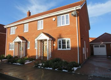 Thumbnail 3 bed semi-detached house for sale in Mentmore Way, Poringland, Norwich