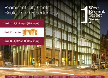 Thumbnail Retail premises to let in 1 West Regent Street, Glasgow