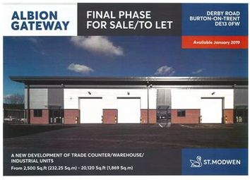 Thumbnail Warehouse to let in Albion Gateway, Derby Road, Burton On Trent, Staffordshire