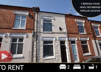 Thumbnail 3 bed terraced house to rent in Tewkesbury Street, Leicester