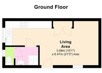 Thumbnail Studio to rent in Studio Flat, Queens Terrace, Totnes Bills Included