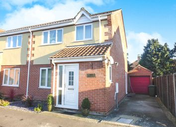 Thumbnail 3 bed semi-detached house for sale in Edenside Drive, Attleborough