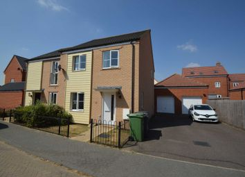 Thumbnail 3 bed semi-detached house for sale in Knappers Way, Costessey, Norwich