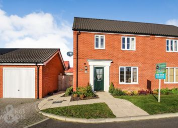 Thumbnail 3 bed semi-detached house for sale in Carrington Close, Poringland, Norwich