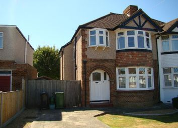 Thumbnail 3 bed semi-detached house to rent in Newbury Gardens, Stoneleigh, Epsom