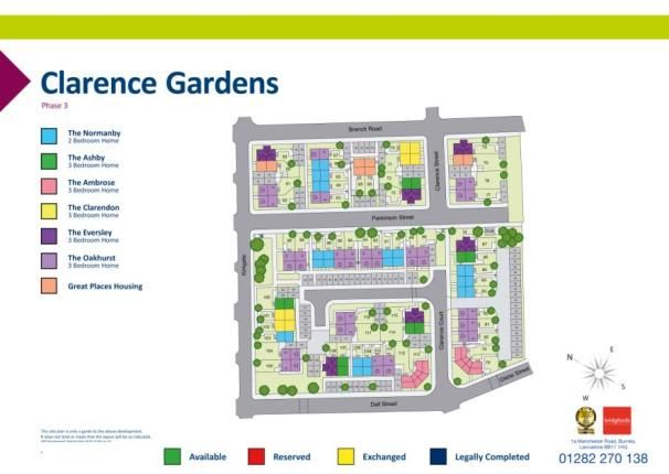 Siteplan of Clarence Gardens, Oxford Road, Burnley BB11
