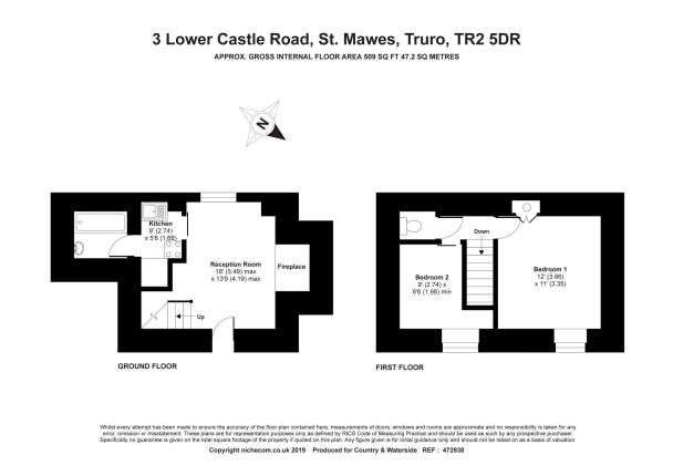Floor Plan of St. Mawes, Truro, Cornwall TR2