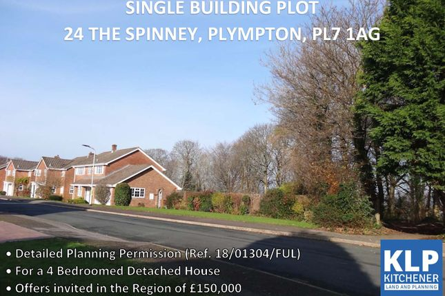 Thumbnail Land for sale in Single Building Plot, The Spinney, Plympton