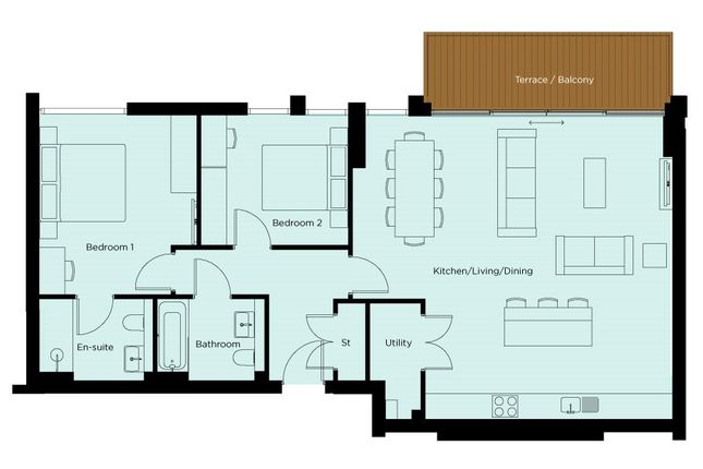 Floorplan of Apartment 42, The 18th At The Links, Rest Bay, Porthcawl, Glamorgan CF36