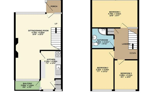 Floorplan of Silvercourt, Brownhills, Walsall WS8
