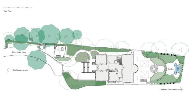 Site Plan of Fairways, 15 White Lodge Close, Hampstead N2
