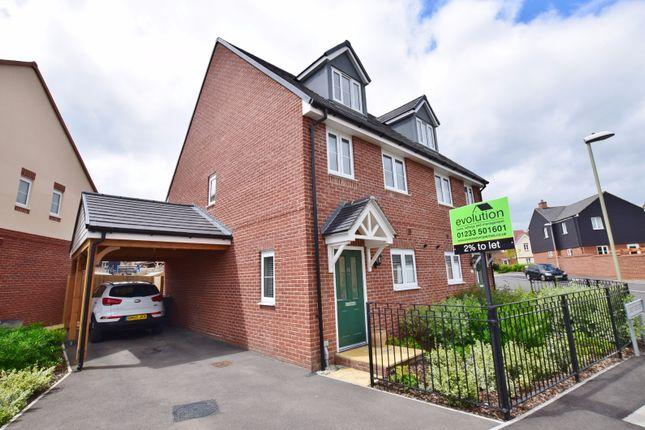 Thumbnail Semi-detached house to rent in Dorset Crescent, Bridgfield, Ashford