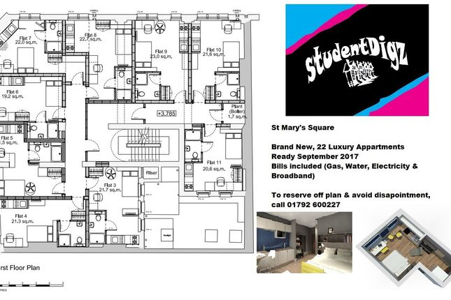 First Floor Plan of St Marys Court, City Centre, Swansea SA1