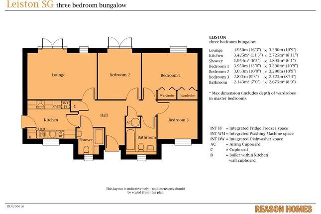 Thumbnail Detached bungalow for sale in Plot 305 Edgecomb Park, Stowmarket