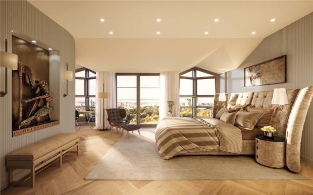 Master Bedroom of Kensington Gardens Square, London W2