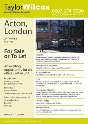 Thumbnail Retail premises for sale in The Vale, Acton, London