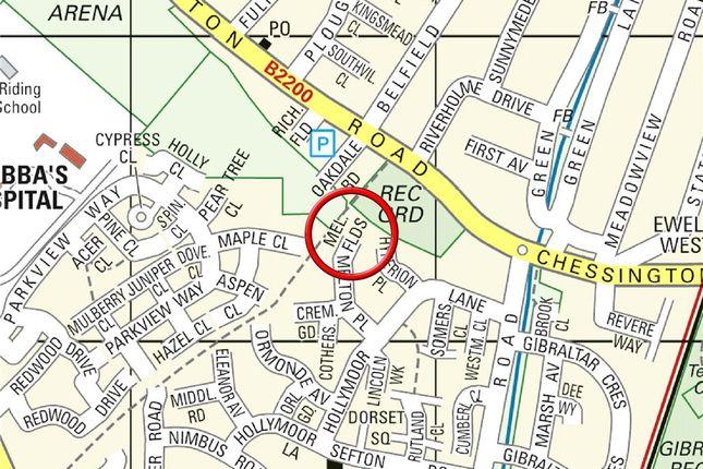 Street Map of Melton Fields, Epsom KT19