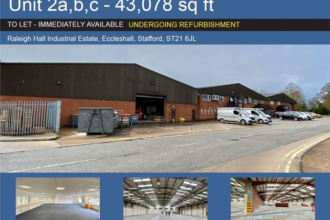 Thumbnail Warehouse to let in Unit 2A, B, c Raleigh Hall Industrial Estate, Raleigh Hall Industrial Estate, Stafford, West Midlands