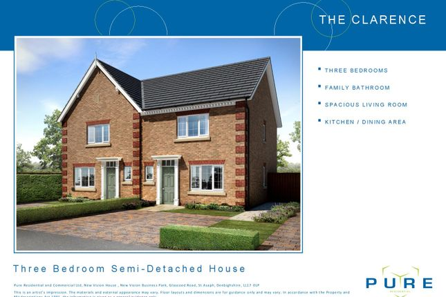 Thumbnail Semi-detached house for sale in Plot 7 Clarence, Cae Topyn, Denbigh
