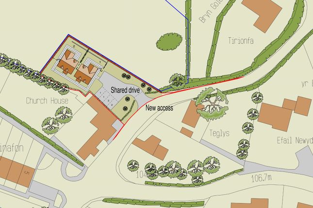 Thumbnail Land for sale in Land Adjoining Church House, Pont Robert, Meifod