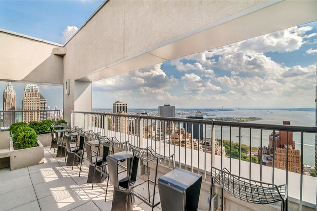 Terrace With City And River Views At 123 Washington Street