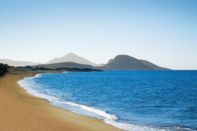 Navarino Dunes Beach With Mountain Backdrop At Costa Navarino