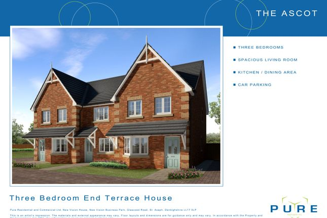 Thumbnail End terrace house for sale in Plot 10 Ascot, Cae Topyn, Denbigh