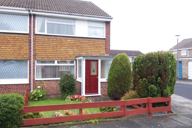 Thumbnail End terrace house to rent in Plover Close, Blyth