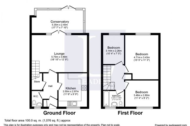 Floor Plan of Long Leasow, Northfield, Birmingham B29