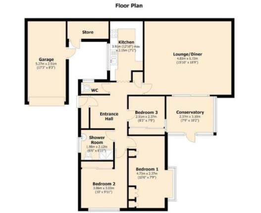 Floor Plan of Vermont Grove, Leamington Spa, Warwickshire, England CV31