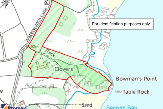Boundary Plan of Clovers, North Cliffe, Tenby, Pembrokeshire SA70