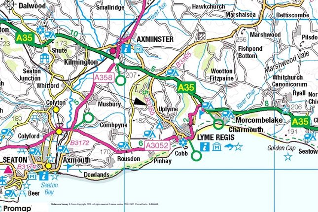 Location Map of Woodhouse Fields, Uplyme, Lyme Regis, Devon DT7