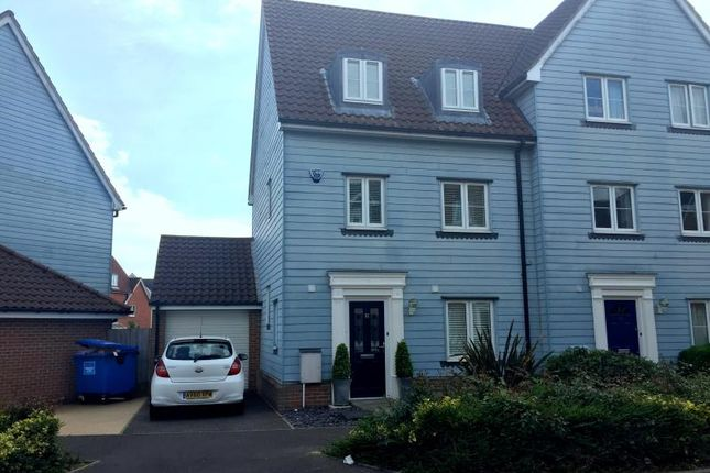 Thumbnail Semi-detached house to rent in Meadow Crescent, Purdis Farm, Ipswich