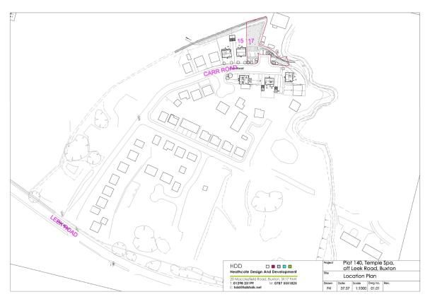Site Plan of Carr Road, Buxton, Derbyshire SK17
