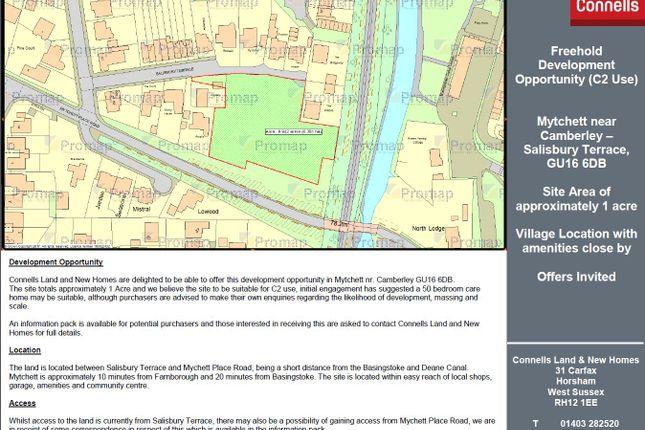 Thumbnail Land for sale in Salisbury Terrace, Mytchett, Camberley