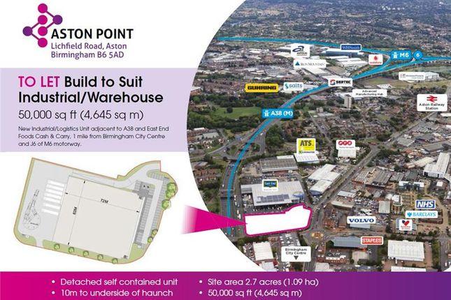 Thumbnail Warehouse to let in Development Land, Lichfield Road, Aston, Birmingham, West Midlands, UK