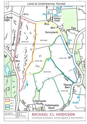 Site Plan of Meadow & Pasture Land Underbarrow, Thorns Lane, Underbarrow, Kendal, Cumbria LA8