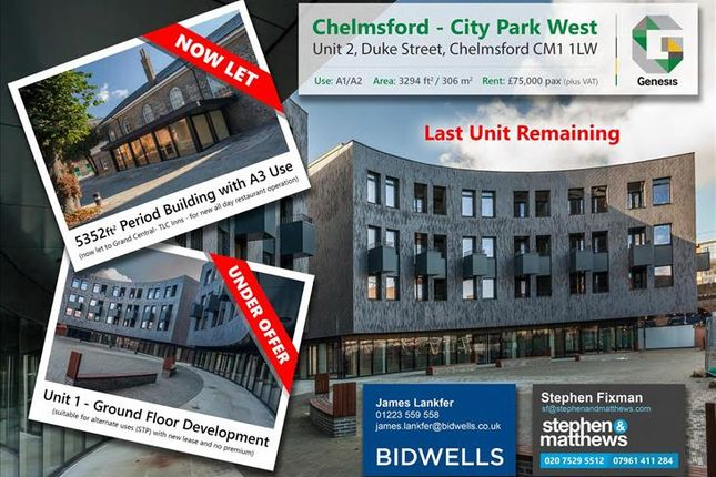 Thumbnail Retail premises to let in Anne Knight Building, Unit 2 City Park West, Duke Street, Chelmsford
