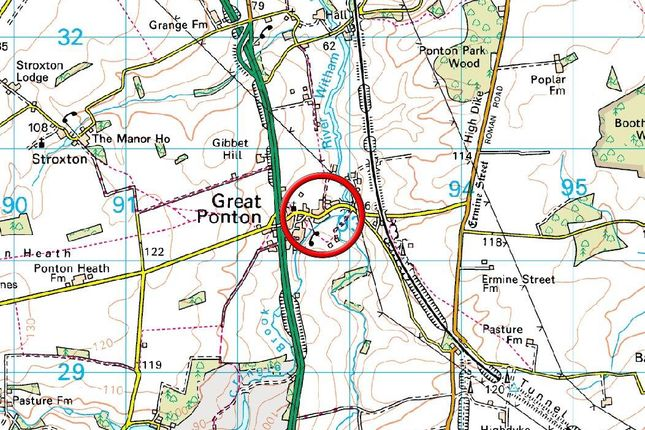 Area Map of Dallygate, Great Ponton, Grantham NG33