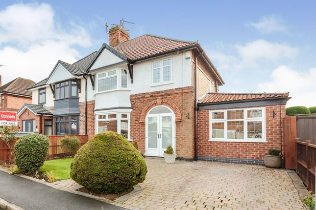 Thumbnail Semi-detached house for sale in Southfields Avenue, Oadby, Leicester