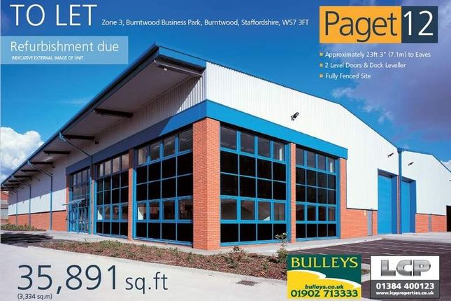 Thumbnail Light industrial to let in Zone 3, Burntwood Business Park, Burntwood