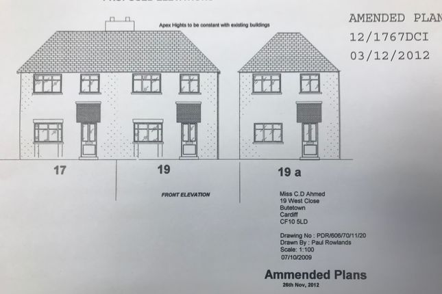 Thumbnail Land for sale in West Close, Cardiff