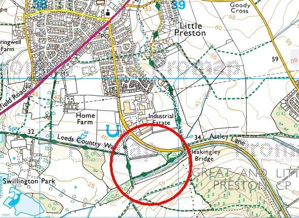 Location Plan of Grass And Woodland Off Astley Lane, Astley Lane, Swillington, Leeds LS26