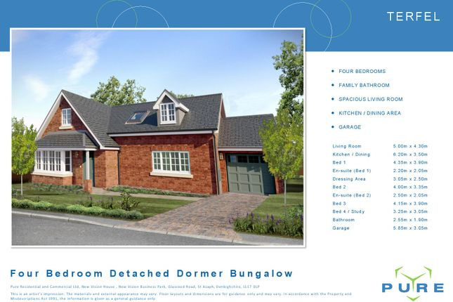 Thumbnail Detached bungalow for sale in Plot 42 Terfel, Cae Topyn, Denbigh