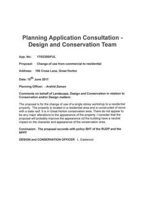Planning of Cross Lane, Bradford BD7